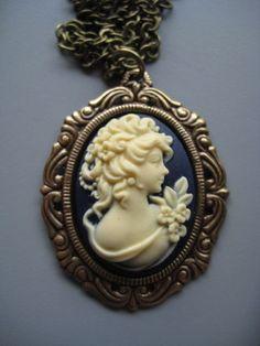 SALE Cameo Necklace Victorian Portrait by SilverTrumpet on Etsy, $18.00