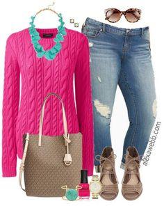 Plus Size Hot Pink Sweater Outfit - Plus Size Fashion for Women - alexawebb.com #alexawebb