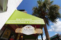 Exterior Sign Village Coffee, Gourmet Sandwiches, Homemade Ice Cream, Gelato, Espresso, Latte, Exterior, Sign, Home Ice Cream