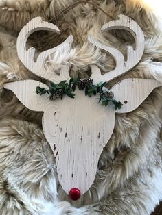 Thoughts that Stick: Deer Head Christmas Gift Sets, Christmas Gift Wrapping, Christmas Signs, Christmas Decorations To Make, Christmas Projects, Handmade Christmas, Christmas Crafts, Christmas Ornaments, Christmas Ornament Template