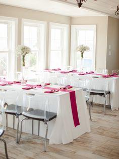 hot pink wedding reception - photo by Sawyer Baird http://ruffledblog.com/romantic-north-carolina-beach-wedding