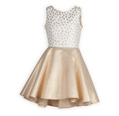 Glimmering Golden Glow Tween Dress Beautiful shimmering holiday dress in poly brocade has winter white top with glimmering gold droplets. Sparkling gold brocade full swing style skirt d Tween Party Dresses, Girls Formal Dresses, Pink Prom Dresses, Grad Dresses, Cute Dresses, Beautiful Dresses, Long Dresses, Sweater Dresses, Dresses 2016