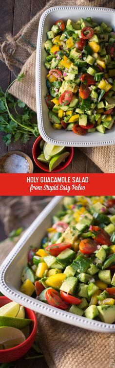 All the flavors of guacamole, in a fun deconstructed salad...creamy avocado, tangy lime, spicy jalapeño, and more! | Recipe from StupidEasyPaleo.com
