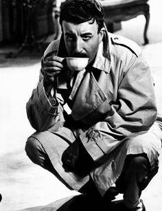 Inspector Clouseau enjoying a cup of tea