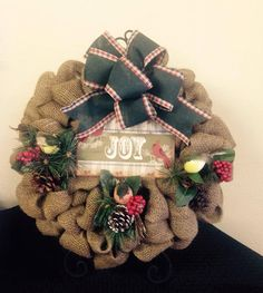 Burlap Christmas Wreath by TammysFlowersandmore on Etsy