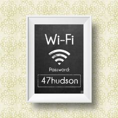 "WiFi Password Printable Sign | Chalkboard Style | 5""x7"" 