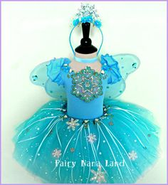Snowflake Fairy Costume - children's size 2/4 - Birthday Party - Halloween - Flower Girl