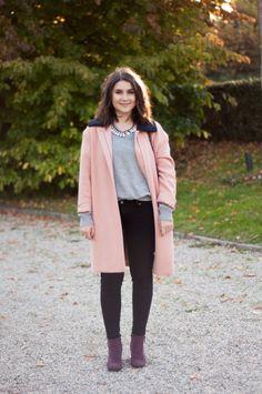 COS pink coat grey sweater - Sleepy Kate | S L E E P Y   K A T E