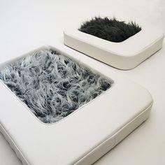 NESTo Modern Pet Bed Frosty Gray Faux Fur Small FREE by KipPets, $275.00
