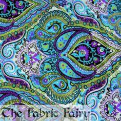 Purple, Green, Aqua Paisley Cotton Lycra Knit... - Car Seat Covers