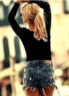 I love short denim with long sleeved black shirts