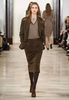 Hedvig dark-brown/olive herringbone sport jacket, taupe melange cashmere sweater, taupe silk-and-cotton shirt, silk tie, dark-brown/olive herringbone trouser skirt, mocha calf-suede oxford shoe