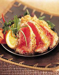 Sesame-seared Tuna with coconut rice