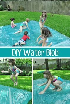 "DIY Water Blob This is better than a slip n' slide! Although it's ""water play"", it's completely dry (unless you add water to the top). I can image it gets pretty warm towards the end of the day, so it could even be fun on a cooler spring day. Maybe even fill it with a bit of glitter and/or food coloring!"