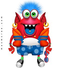 Josh the friendly red monster has a shock of puffy blue hair. He likes to smile at strangers and help them.