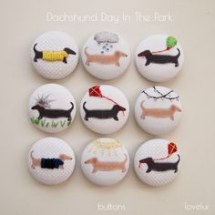Embroidered Dachshund Buttons