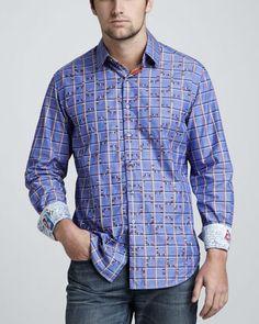 Robert Graham Check-Stripe Sport Shirt - Neiman Marcus