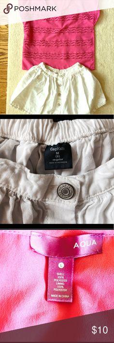 GAP Jean Skirt Girls Size 8 & Crochet Silk Top Cute white denim girls size 8 Jean skirt (regular medium) and cute faux silk bubblegum pink flow Crochet Top for layering size 8/10 Large. GAP Bottoms Skirts