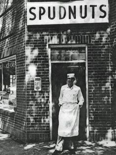 SPUDNUT SHOP: Traffic was jammed on Fourth Street – Highway 40 – for blocks in both directions on May 2, 1947, when the Spudnut Shop on Fourth and Nevada streets opened, offering the only true doughnuts available locally and becoming an institution that would endure until it closed in the early 1960s. In this photo, Owen Sorensen stands in front of Reno's Spudnut doughnut shop, which opened in 1947.  Provided by Marie Sorensen