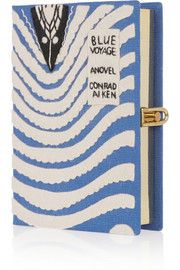 Olympia Le-Tan Blue Voyage appliquéd cotton-faille clutch
