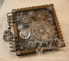 Cool gears on a notebook. Using foil and some kind of sealer - this would be easy and awesome!