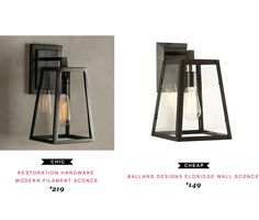 Restoration Hardware Modern Filament Sconce $219   |vs|   Ballard Designs Eldridge Wall Sconce $149 #copycatchicfind