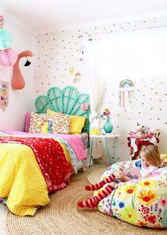 Kids Bedroom Ideas // Rainbow Retreat – four cheeky monkeys - DIY Kinderzimmer Ideen Bedroom Colors, Bedroom Decor, Master Bedroom, Bedroom Girls, Kid Bedrooms, Bedroom Retreat, Gold Bedroom, Bedroom Modern, Rainbow Bedroom
