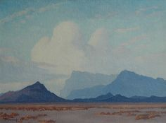 Karoo mountains and clouds - JH Pierneef African Paintings, South African Artists, Faeries, Acrylics, Art Inspo, Pens, Landscaping, Sketches, Posters