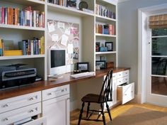 From top to bottom, off white cabinets like these are beautifully designed to make the most of the allotted space with charming style. Open shelving creates space for storage and decor while closed door cabinetry secretly stashes paperwork from view. Home Office Cabinets, Kitchen Cabinetry, Home Office Desks, Office Furniture, Hallway Office, Kitchen Office, Office Workspace, Furniture Design, Off White Cabinets