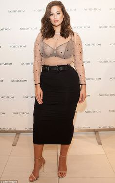 da3fb25d3ac Ashley Graham wears a sheer top as she presents her lingerie line