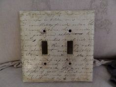 Vintage French Script Double Light Wall Switchplate Cover Shabby Chic Patina Paris