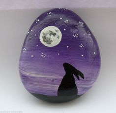 Large Moon Gazing Hare Stone paperweight / Altar Adornment. Pagan/wiccan. Painted pebble, rocks.
