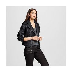 Women's Faux Leather Moto Jacket Black ($45) ❤ liked on Polyvore featuring outerwear, jackets, black, vegan leather jacket, moto jacket, fake leather jacket, vegan biker jacket and vegan leather motorcycle jacket