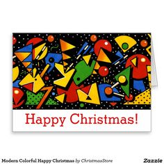 Modern Colorful Happy Christmas Greeting Card