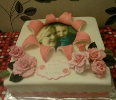 "12""sqr strawberry and vanilla star burst cake I did fir my Bro :) 1.6.15 by Shirlie W"