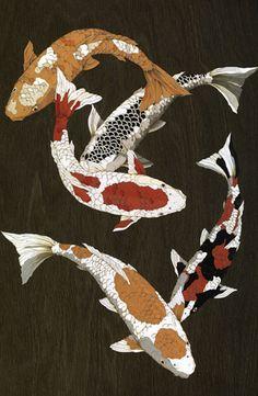 Inlaid wood marquetry- image of swimming koi. Koi Painting, Japanese Painting, Japanese Art, Japanese Prints, Art Koi, Fish Art, Koi Fish Drawing, Fish Drawings, Carpe Coi