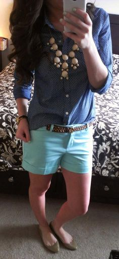 Polka dot chambray top, braided belt, mint shorts, pointy nude flats, statement necklace