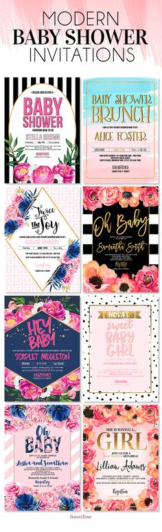 Modern, authentic and trendy baby shower invitations for your DIY baby shower party. Gender neutral, boy, girl and twin baby shower invitations in wide variety of styles from modern and glam to preppy and elegant. These baby shower cards are sure to wow your guest. All invitations come with matching party decorations, address labels, baby shower games, advice card and wishes for the baby as well as decorative party signs and dessert table decor. Be the star of your baby shower with…