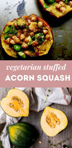 Chickpea Stuffed Acorn Squash - Food Heaven Made Easy Vegan Bean Recipes, Vegetarian Christmas Recipes, High Protein Vegan Recipes, Vegetarian Thanksgiving, Vegetarian Main Dishes, Lentil Recipes, Vegan Dinner Recipes, Vegetarian Recipes Dinner, Vegan Dinners