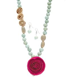 Calamarie Pink & Sky Blue Floral Pendant Necklace & Earrings | zulily