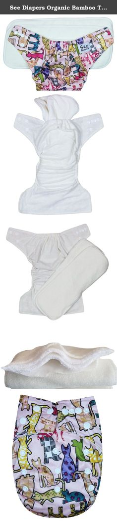 See Diapers Organic Bamboo Terry Baby Cloth Diaper - 2 Bamboo Inserts Cats. This Organic Bamboo One Size Pocket Diaper consist of 2 parts: a waterproof outer shell + 2 large Grade A Organic bamboo inserts. The outer shell is made of high quality, durable and soft fabric. Laminated with the new and improved Thermoplastic Polyurethane (TPU), a composition specifically adapted to produce non-porous membranes exhibiting waterproof and water vapor transmissible. The result is a high…