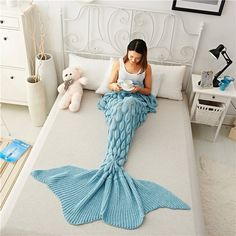 This Knitted Mermaid Scale Crochet Blanket is the perfect gift for any adults who loves mermaids or the sea! Slip inside, look and feel like a real mermaid! The lady who gets her hands on this will no