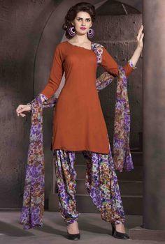 $17.81 Dark Orange Crepe Punjabi Suit 56178