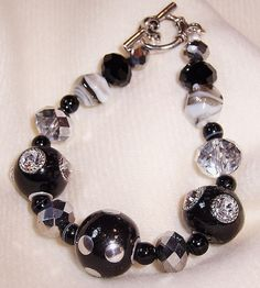 Chunky black and silver bracelet
