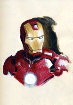 this one is a good watercolor iron man as well