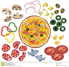 Illustration about vector pizza and ingredients for your design. Illustration of editable, nutrition, lunch - 19788664 Printable Pictures, Printable Art, Math For Kids, Crafts For Kids, Kids Diy, Cute Powerpoint Templates, Pizza Craft, File Folder Activities, Pie In The Sky