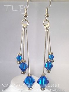 blue dangle earrings / Dangle crystal by ToadsLilyPondJewelry, $15.00 #somethingblue