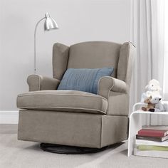 Make those middle-of-the-night feedings with your little one easier with this Baby Relax Colby swivel glider. A plush seat and high padded back give this dark taupe swivel chair a comfortable and inviting design that is suitable for any nursery. Polyester upholstery helps repel wear and promotes ease of care.