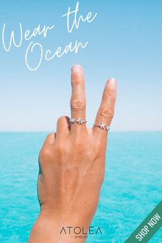 Wear the Ocean! Check out these ocean-inspired rings. Discover more minimalist and ocean-inspired jewelries from Atolea Jewelry. We offer free shipping anywhere you are! Wear the ocean with style at atoleajewelry.com