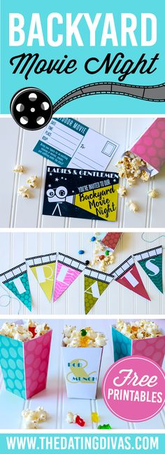 Backyard Movie Night?!? I would love to do this!! We could use a laptop and some speakers. Bucket list date for the summer!! Printables designed by www.etsy.com/shop/CdotLove www.TheDatingDivas.com